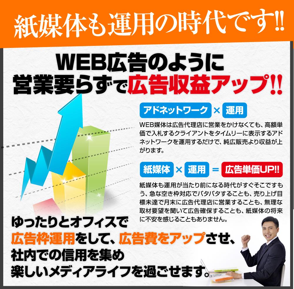 WEB広告のように営業要らずで広告収益アップ WEB媒体は広告代理店に営業をかけなくても、高額単価で入札するクライアントをタイムリーに表示する アドネットワークを運用するだけで、純広販売より収益が上がります。  紙媒体も運用が当たり前になる時代がすぐそこです。 もう、急な空き枠対応でバタバタすることも 目売り上げ目標未達で月末に広告代理店に営業することも 無理な取材要望を聞いて広告確保することも 紙媒体の将来に不安を感じることも ありません。  ゆったりとオフィスで広告枠運用をして、 広告費をアップさせ、 社内での信用を集め楽しいメディアライフを過ごせます。